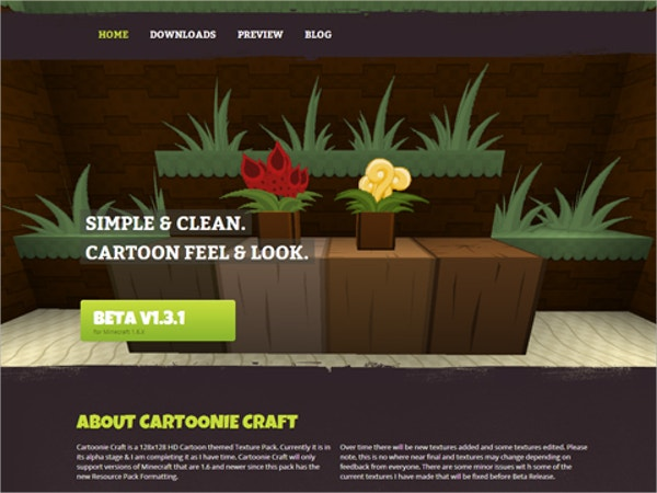 minecraft cartoon website theme