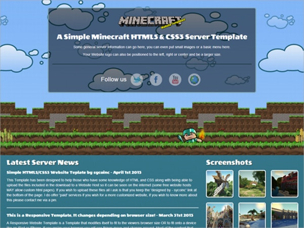 MineCraft Bootstrap Website Theme