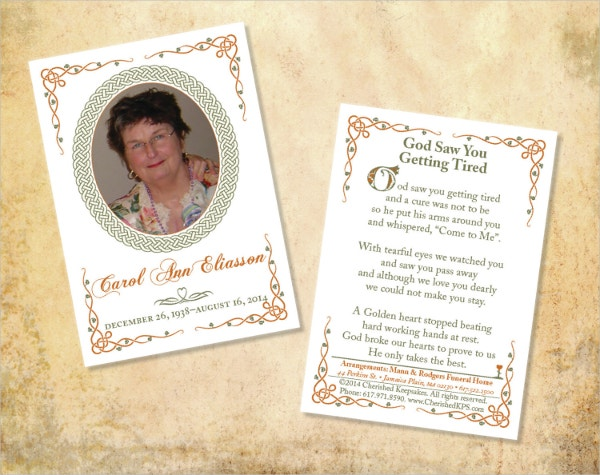 Celtic Design Funeral Card Template