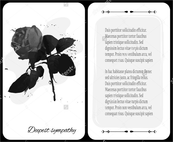 Funeral Card with Dark Rose