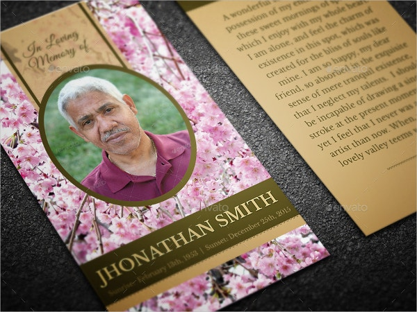 Cherry Blossom Funeral Prayer Card Template