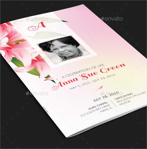 Petals Funeral Program Card Template