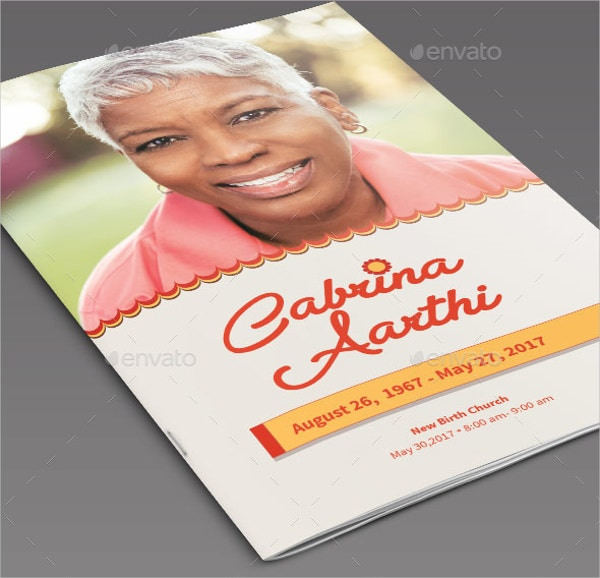 Delicate Funeral Program Card Template