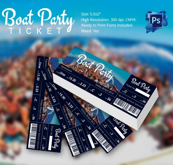 psd boat party ticket template free download