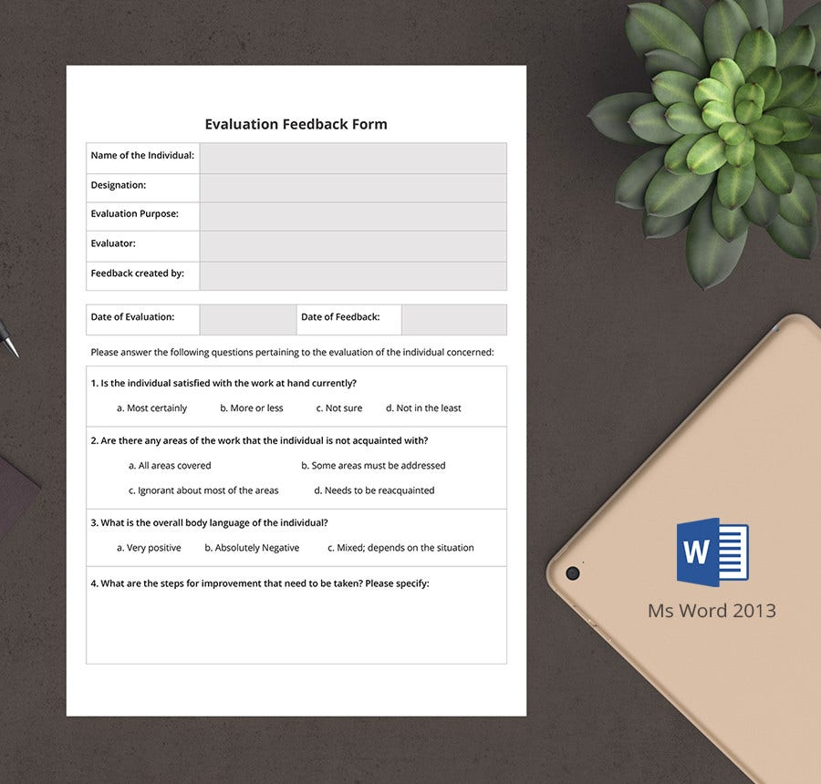 7+ Free Hr Evaluation Forms - Interview, Training, Activity | Free