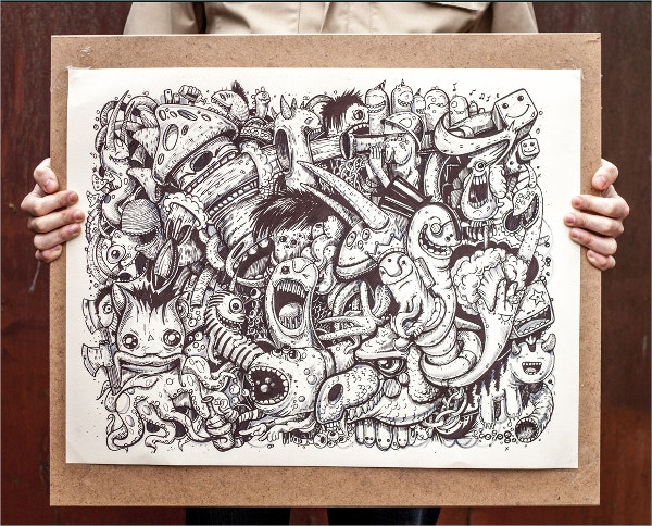 hand drawn graphic monsters art