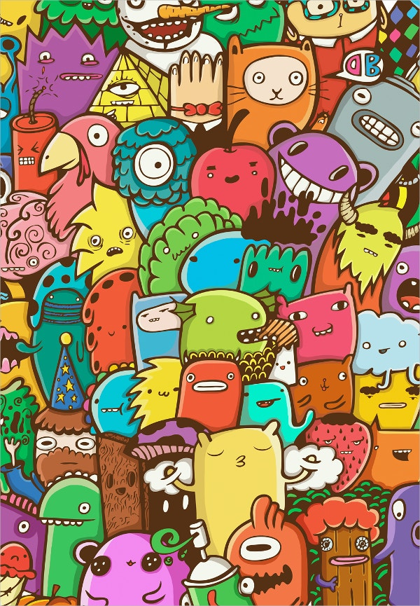 creative doodle monsters art design1
