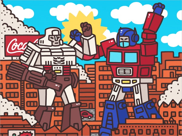 megatron vs optimus prime doodle art1