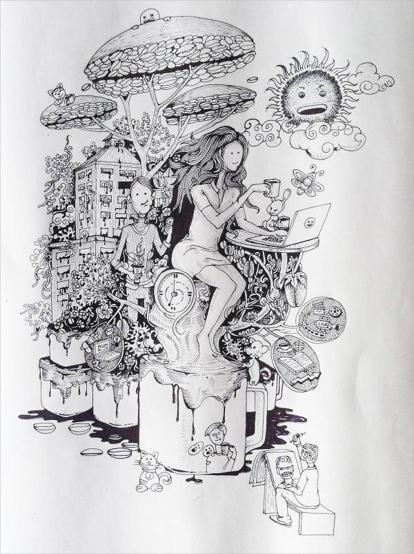 coffee doodle art design1