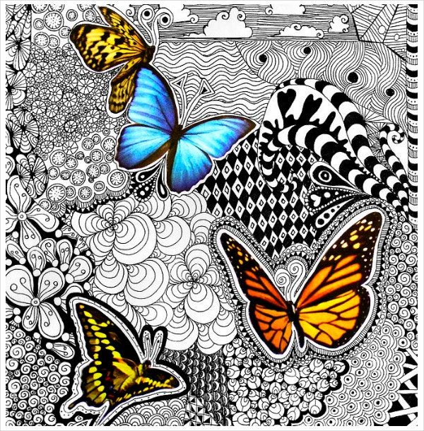 butterfly tangle colorful doodle art1