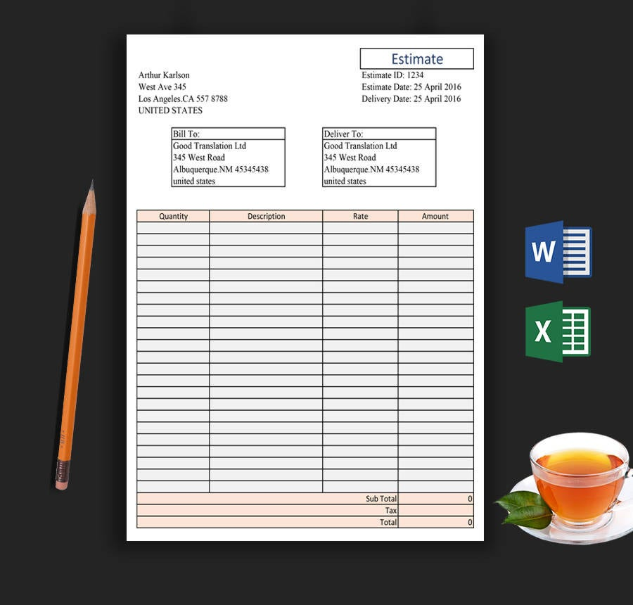 Corporate Companies Blank Estimate Template