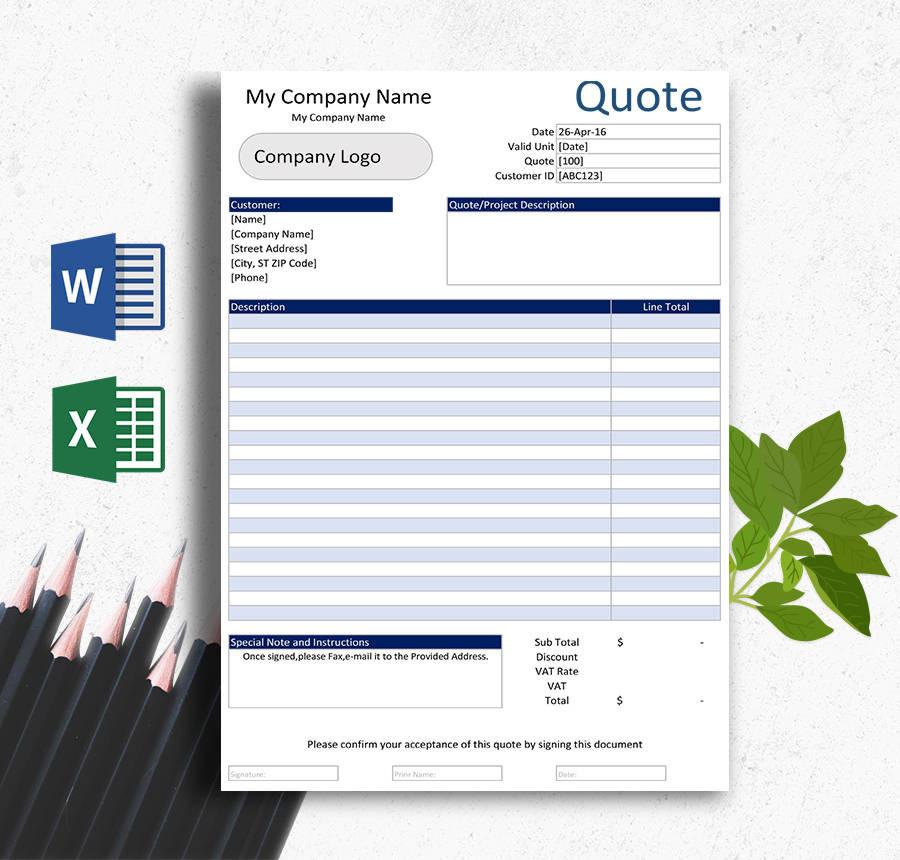 Invoice Blank Estimate Template