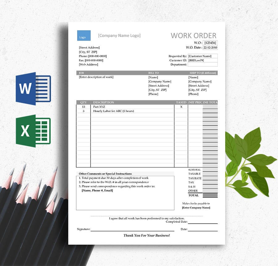 Expenditure Blank Estimate Template