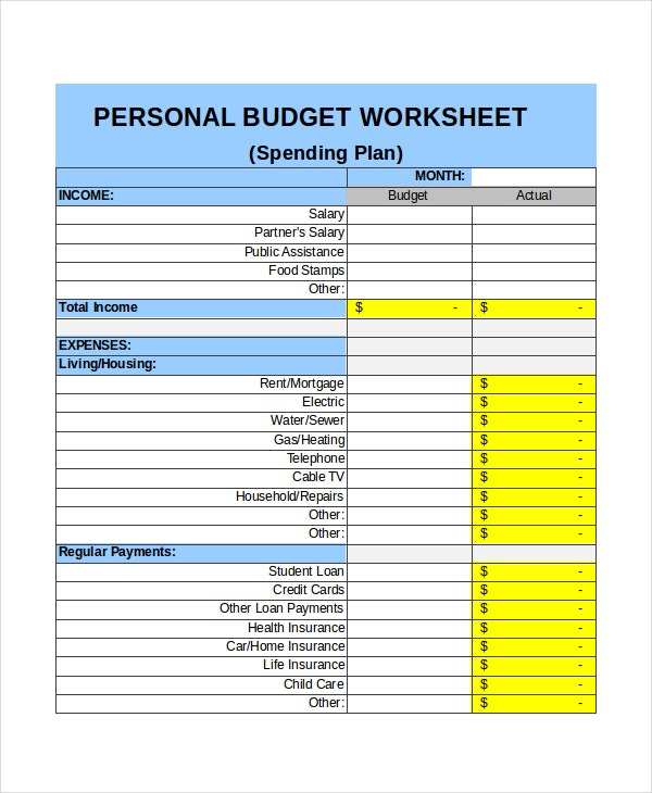 personal monthly budget income template