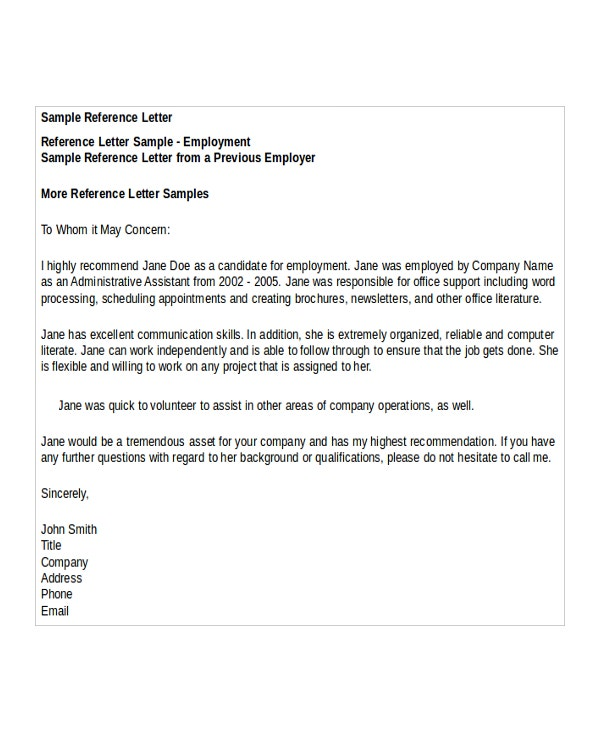 Reference Letter Template Samples  NinjaTurtletechrepairsCo