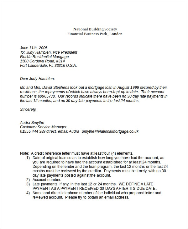 Credit Reference Letter For Mortgage  Customer Reference Template