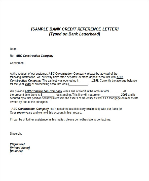Credit Reference Letter Templates  Free Sample Example