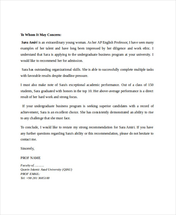 letter of recommendation for students from professor 8 reference letter for templates free sample 17618