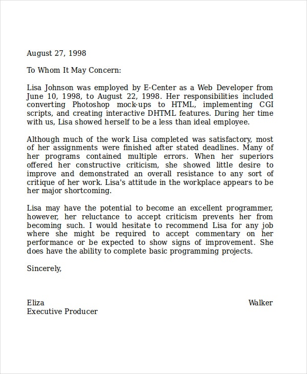 Letter Of Recommendation For Coworker Recommendation Letter For