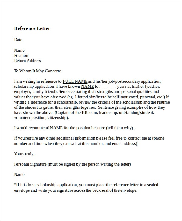 8 reference letter for teacher templates free sample for Recommendation letter for student from teacher template
