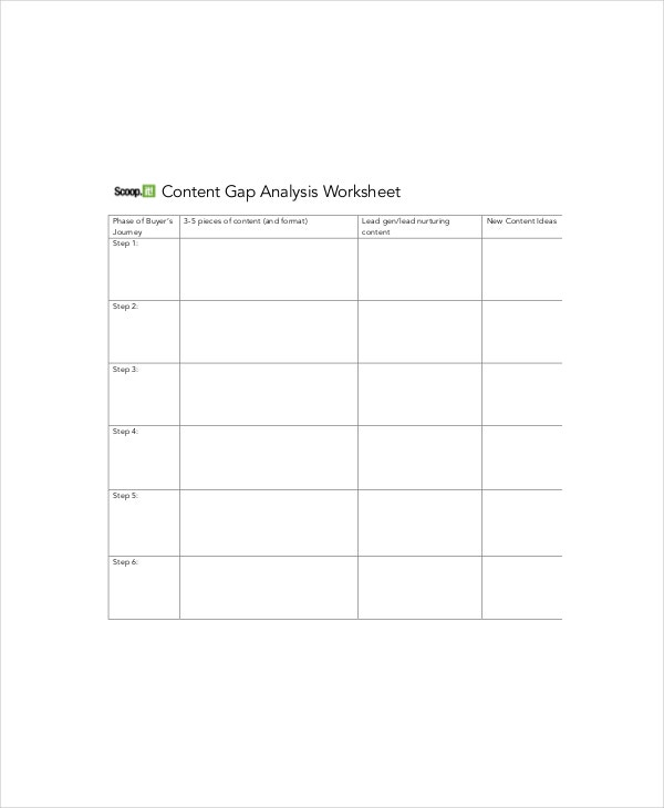 content gap analysis worksheet