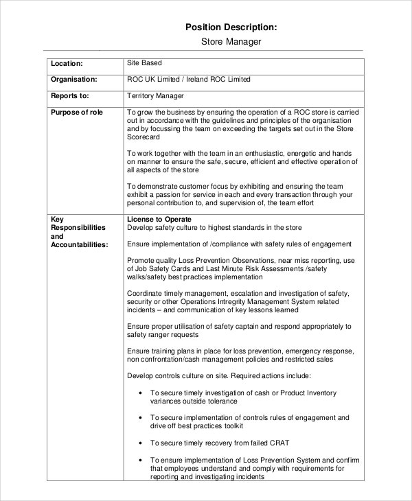 13 Job Description Templates Free Sample Example Format – Store Manager Job Description