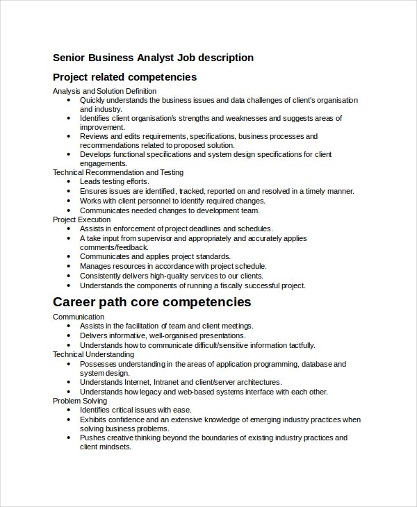 Business Analyst Job Description Template