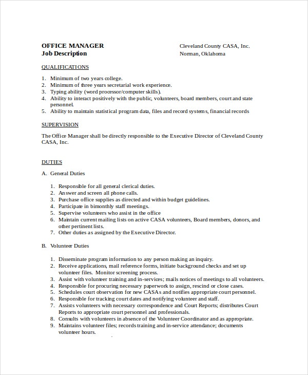 13 job description templates free sample example - Office administration executive job description ...