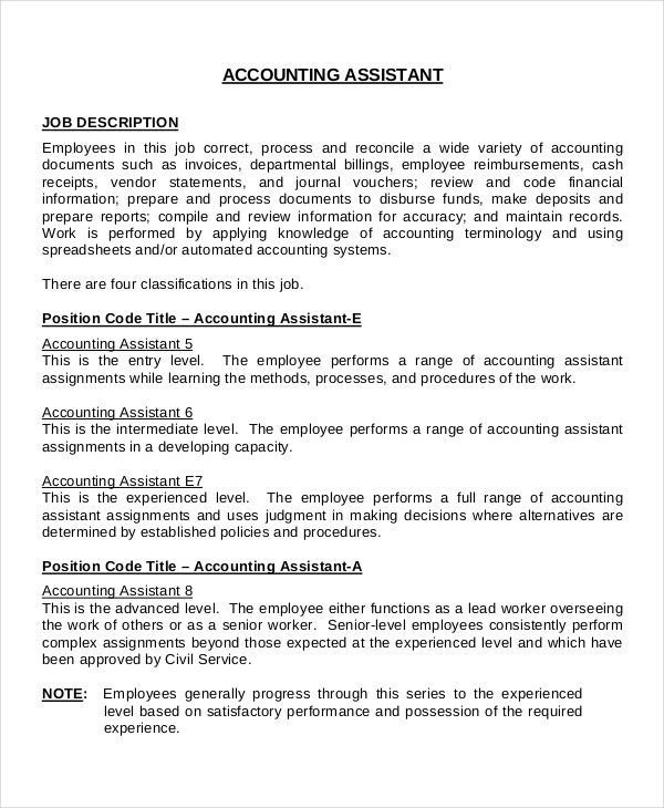 Job Description Sample Of Accountant Accounting Please Email Your