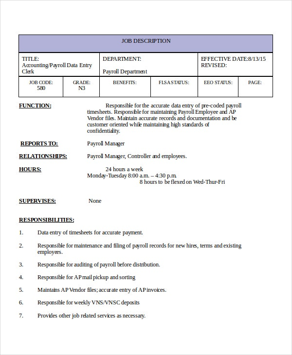 Data Entry Job Description Template
