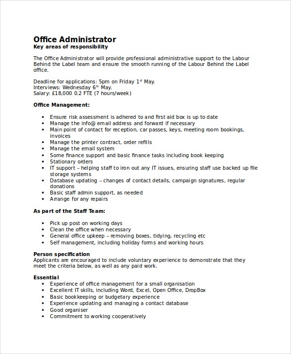 13 job description templates free sample example format free premium templates - Office administrator job responsibilities ...