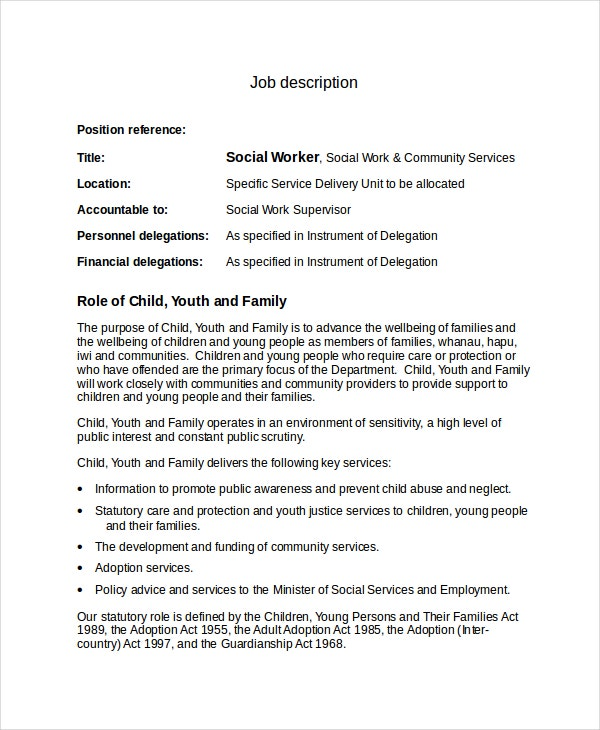 Social Worker Job Description Template