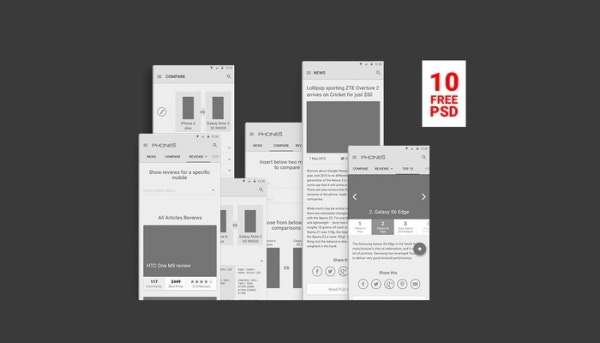 Free PSD Wireframes for Phones