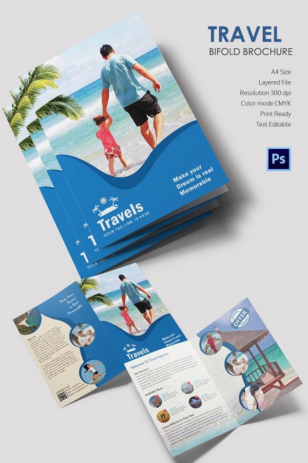 Freebie of The Day Travel Bi-Fold Brochure Template