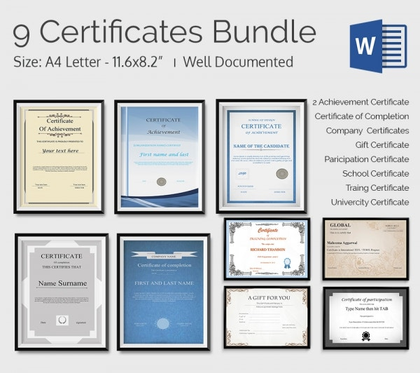 9 Free Certificate Templates Bundle