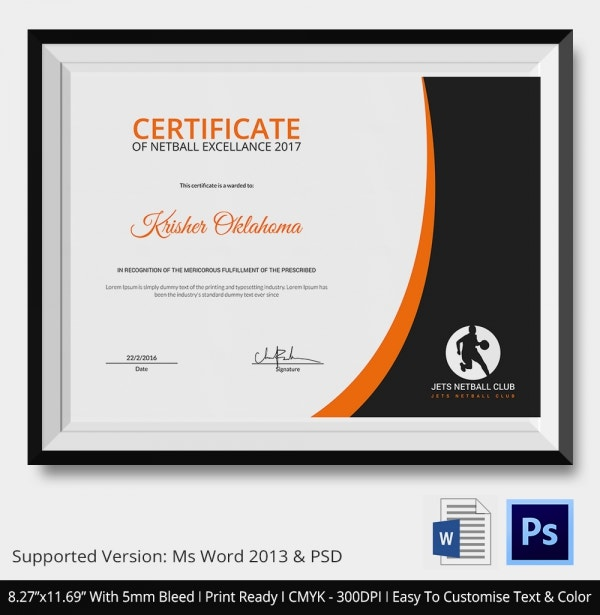 Netball Excellence Certificate