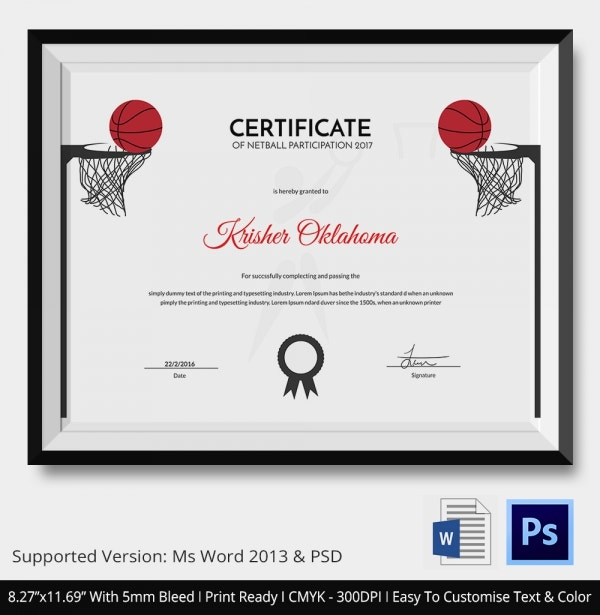 Certificate of Netball Participation