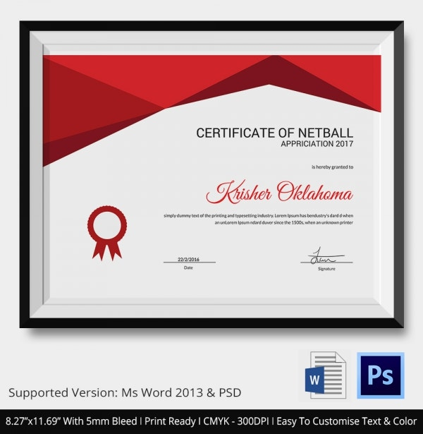 Appreciation of Netball Certificate