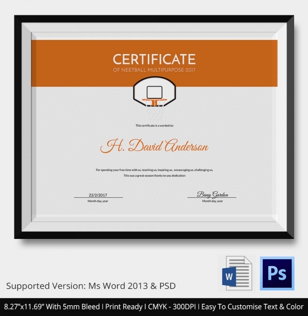 Best Netball Certificate Template Download