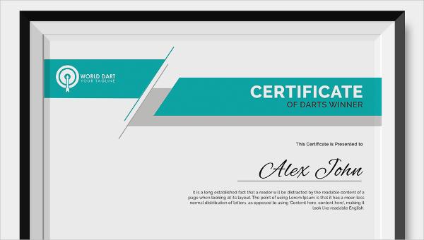 darts certificates templates