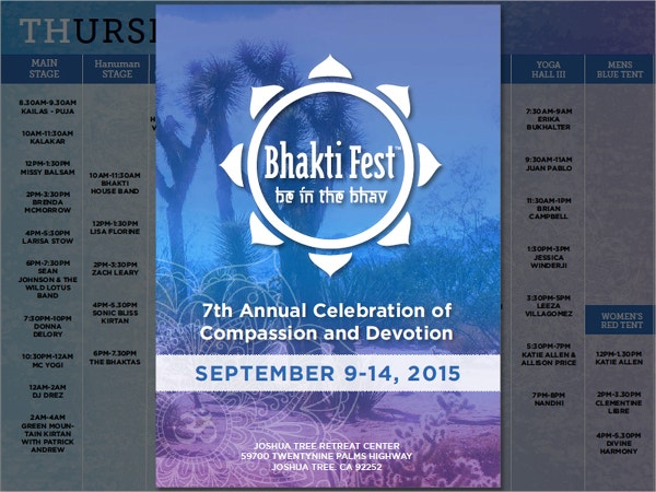 Bhakti Fest Program Brochure