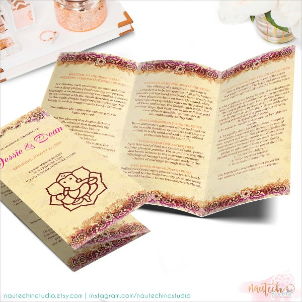 Indian Wedding Ceremony Program Brochure