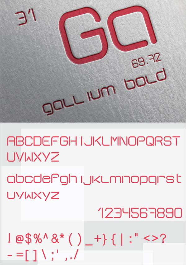 gallium bold font