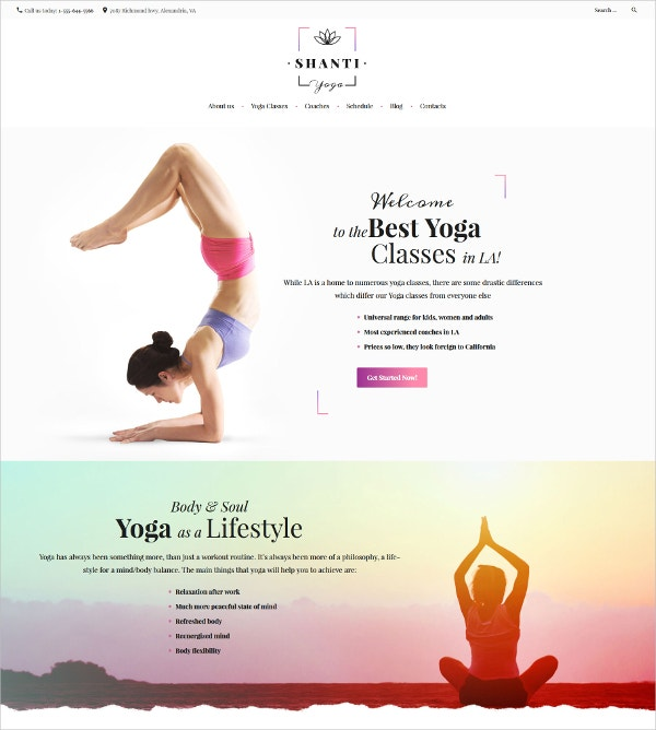 Best Yoga Classes WordPress Theme $53