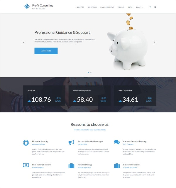 Professional Financial Advisor WordPress Theme $39