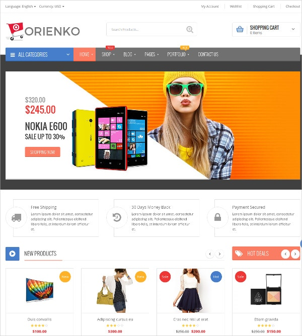 Responsive eCommerce Digital WordPress Theme $59