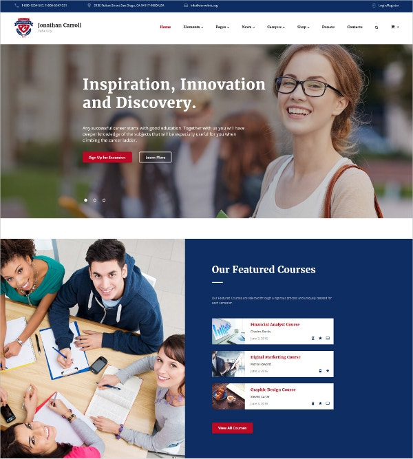 Inspiration University HTML5 Website Template $53