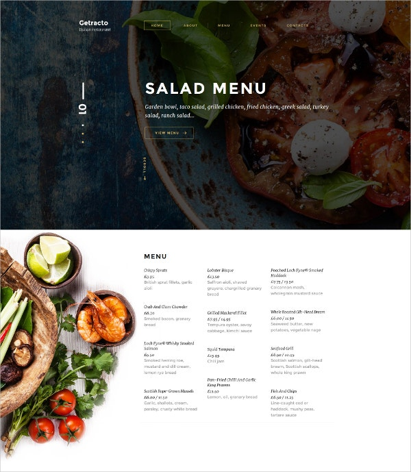 Tasty Food Italian Restaurant HTML5 Website Template $53