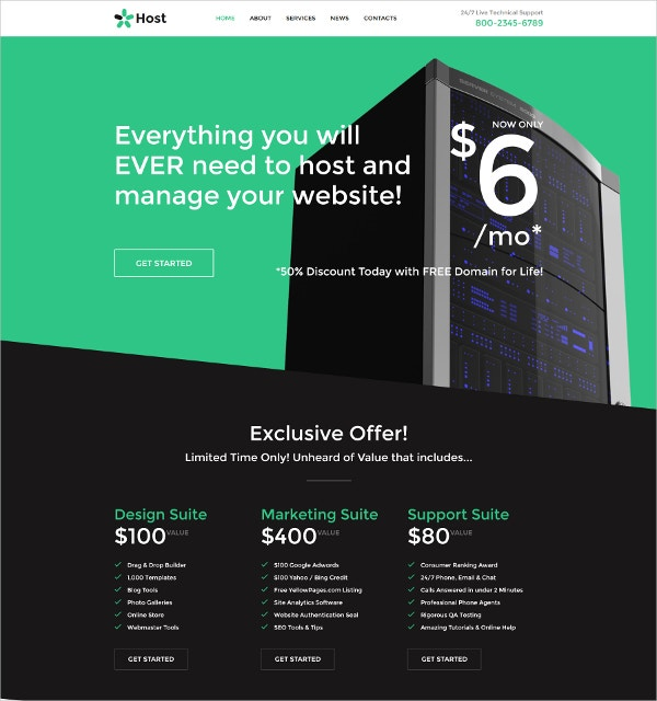 Responsive Hosting HTML5 Website Template $53