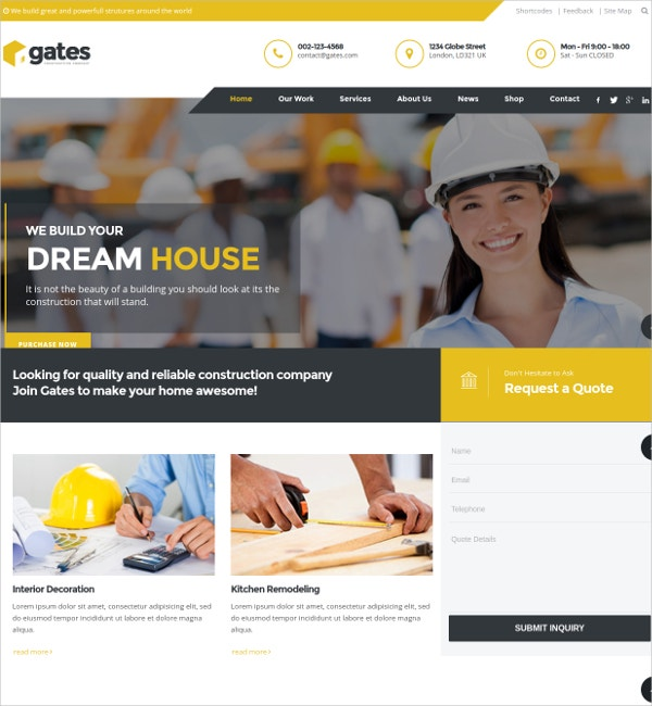 Business Construction Contractor WP HTML5 Theme $59